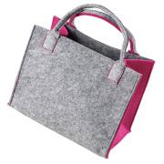 LaFiore24 Hochwertige Filztasche Einkaufstasche Damen Shopper Handtasche Henkeltasche Festivalbag hell grau-pink
