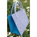 LaFiore24 Hochwertige Filztasche Einkaufstasche Damen Shopper Handtasche Henkeltasche Festivalbag hell grau-türkis