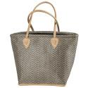 LaFiore24 Einkaufstasche Shopper Schultertasche Damen Henkeltasche mittelgroß Reißverschluss braun