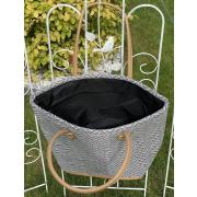 LaFiore24 Einkaufstasche Shopper Schultertasche Damen Henkeltasche mittelgroß Reißverschluss schwarz