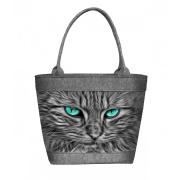 LaFiore24 Filztaschen Filz Shopper Damen Einkaufstasche Henkeltasche Katzen Cat Motiv Handtasche Reißverschluss Maschinenwaschbar bis 30 Grad