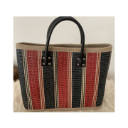 LaFiore24 Einkaufstasche Shopper Henkeltasche Korb Handtasche Allzwecktasche Blau-Rot