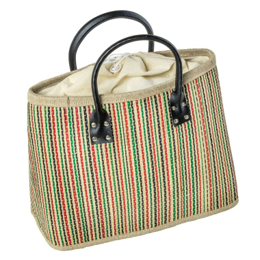 LaFiore24 Einkaufstasche Shopper Henkeltasche Korb Handtasche Allzwecktasche Mehrfarbig Gestreift