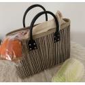 LaFiore24 Einkaufstasche Shopper Henkeltasche Korb Handtasche Allzwecktasche Schwarz-Streifen