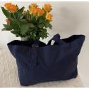 LaFiore24 Damen Shopper Einkaufstasche Strandtasche Sporttasche Schultertasche Henkeltasche Blau