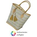 LaFiore24 Damen Einkaufstasche Shopper Strandtasche Schultertasche Henkeltasche