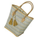 LaFiore24 Damen Einkaufstasche Shopper Strandtasche Schultertasche Henkeltasche Natur