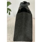 LaFiore24 Filztasche Einkaufstasche Damen Shopper Henkeltasche Dunkelgrau