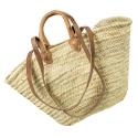 LaFiore24 Einkaufskorb Schulter Tasche Palmblatt Shopper Damen Henkeltasche Natur  Natur
