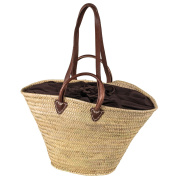 LaFiore24 Einkaufskorb Schulter Tasche Palmblatt Shopper Damen Henkeltasche Natur  Natur Stoff-Braun