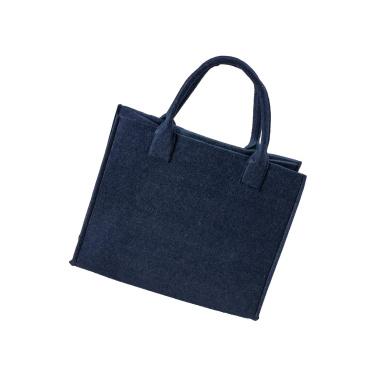 LaFiore24 Hochwertige Filztasche Einkaufstasche Damen Henkeltasche Festivalbag mittel gross dunkel dunkel blau