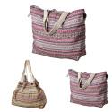 LaFiore24 Einkaufstasche Damen Shopper Beuteltasche grosse Strandtasche Badetasche Schultertasche Druckknopf-Verschluss rot multi
