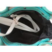 LaFiore24 Italienische Echt Leder Damen Clutch Handtasche Schultertasche Vintage 50 mintgrün-weiß